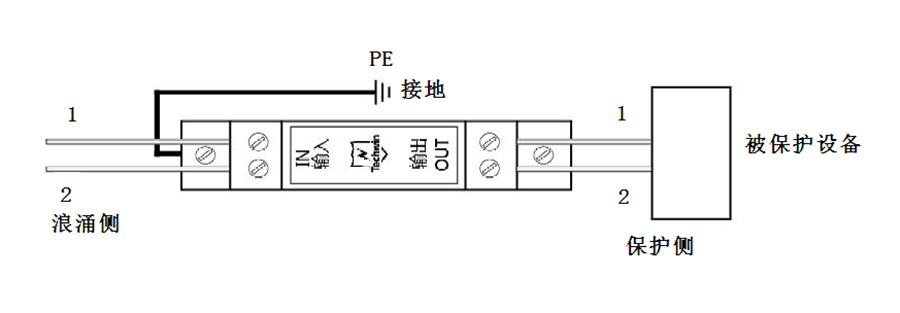 两线保护系列导轨型安装(俯视图)