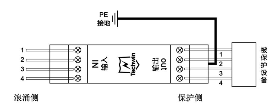 四线保护系列导轨型安装(俯视图)