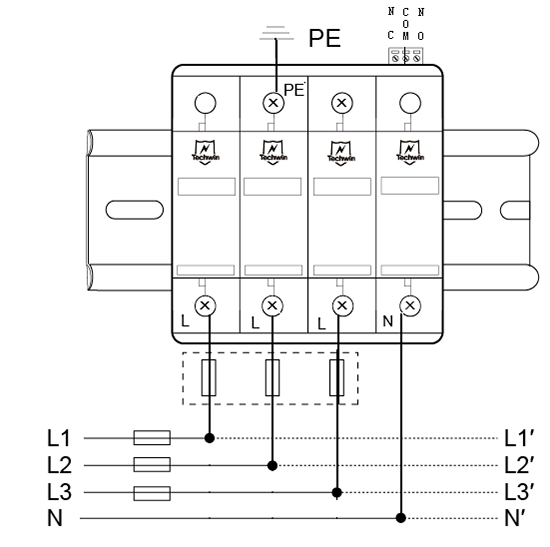 M60B4(M60B3没有零线N-PE模块)接线示意图